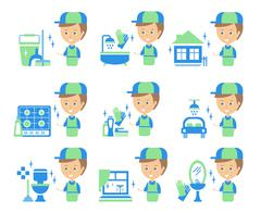Cleaning Service Man And Finished Tasks Set Of Illustrations - stock illustration