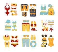 Beach Outfit Sets Of Clothing And Accessories - stock illustration
