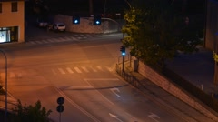 Traffic at a crossing of roads at night - stock footage