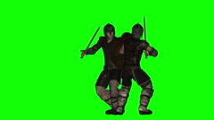 Ancient Warrior Sword Duel Animation (Green Screen) - stock footage