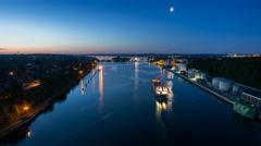 Kiel | Canal Night to Day Stock Footage