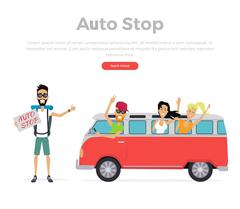 Autostop Concept on White - stock illustration