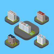 Isometric Building Set Isolated Stock Illustration
