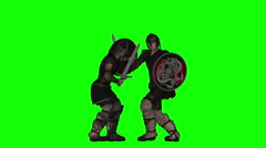 Ancient Warrior Sword Duel Animation (Green Screen) Stock Footage