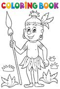Coloring book Aborigine theme - eps10 vector illustration. Stock Illustration
