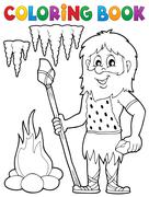 Coloring book cave man theme - eps10 vector illustration. Stock Illustration