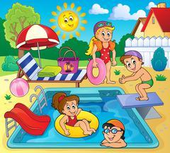 Children by pool theme image - eps10 vector illustration. - stock illustration