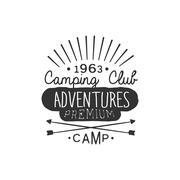 Camping Club Adventures Vintage Emblem - stock illustration