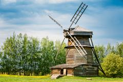 Old Wooden Windmill in Suzdal, Russia. Summer Spring Season Stock Photos