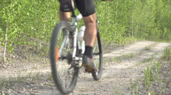 Cyclist on a white bicycle in a blue uniform rides outdoors in the forest. Stock Footage