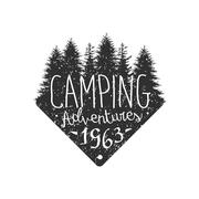 Camping Adventures Vintage Emblem Stock Illustration