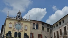 Clock of the town hall of Bassano del Grappa, Italy Stock Footage