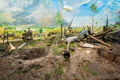 Diorama depicting the defeat of Nazi troops in Belarus. Belarusi Stock Photos