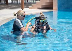 First Underwater Breaths - stock photo