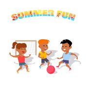 Children Play with a Ball. Summer Fun - stock illustration