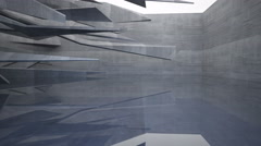 Abstract concrete future interior with a large window and glass flor. Architectu Stock Footage