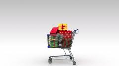 Shopping cart,dropping gift box, shopping bag. - stock footage