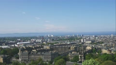Edinburgh city aerial view as seen from Nelson monument (Timelapse) Stock Footage