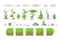 Tile set for Platformer Game, Seamless vector ground blocks games design - stock illustration