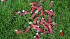 Shotgun ammunition thrown on green grass Stock Footage