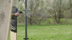 Man training in camp for dynamic tactical shooting with real bullets Stock Footage