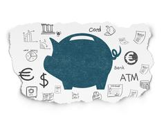 Currency concept: Money Box on Torn Paper background - stock illustration