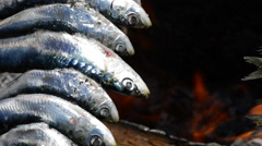 Food sardines fish skewer fire grilled at fire Stock Footage