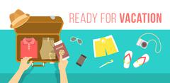 Packing clothes for summer vacation vector flat illustration Piirros