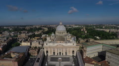 Aerial of St. Peter's Basilica  in Vatican City, Rome. Drone moves away. N. Stock Footage