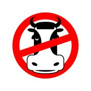 Stop beef. Prohibited animal meat. Crossed-head cow. Emblem against flesh. Re - stock illustration