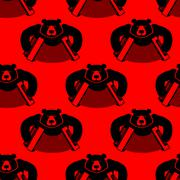 Bear with accordion seamless pattern. Wild beast and musical instrument. Russ - stock illustration