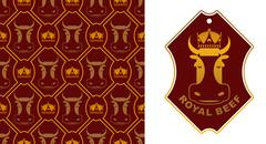 Royal Beef logo. Cow in crown. Excellent quality meat. Logo for farming and m - stock illustration
