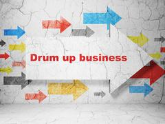 Business concept: arrow with Drum up business on grunge wall background - stock illustration