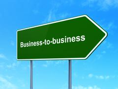 Business concept: Business-to-business on road sign background Stock Illustration