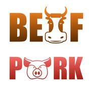 Pork and beef text logo. Cows and pigs. Typography - stock illustration