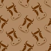 Cow seamless pattern. Head of bull pattern. beef texture. Cute farm animals.  - stock illustration