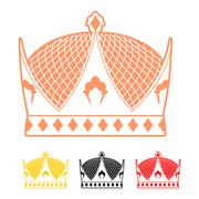 Crown flat style icon. Headdress symbol of monarchical power. Sign emperor Ha Stock Illustration