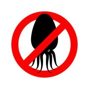 Stop squid. Prohibited octopus. Anhui Conch crossed out. Emblem against under Stock Illustration