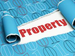 Business concept: red text Property under the piece of  torn paper - stock illustration