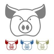 Pig icon flat style. Head farm animal stencil. Cute pork Stock Illustration