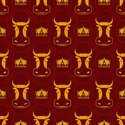 Royal beef seamless pattern. cow and crown regal background. Farm animal text - stock illustration