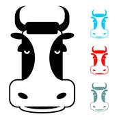 Cow icon flat style. Head farm animal stencil. Cute beef Stock Illustration