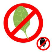 Stop ban spinach. Prohibited greens salad. Strikethrough green spinach leaf.  Stock Illustration