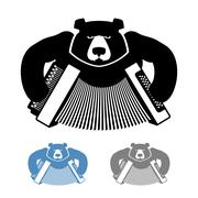 Russian bear with accordion icon flat style. Wild beast and musical instrumen Stock Illustration