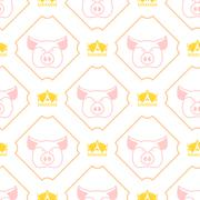 Royal pork seamless pattern. Pig and crown regal background. Farm animal text Piirros