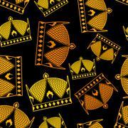 Crown seamless pattern. emperor Royal texture. Headdress symbol of monarchica - stock illustration