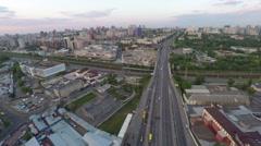 Flight across the city on the sunset Stock Footage