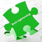 Business concept: Belt-tightening on puzzle background Stock Illustration