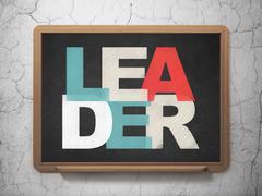 Business concept: Leader on School board background - stock illustration