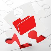 Finance concept: Folder on puzzle background - stock illustration